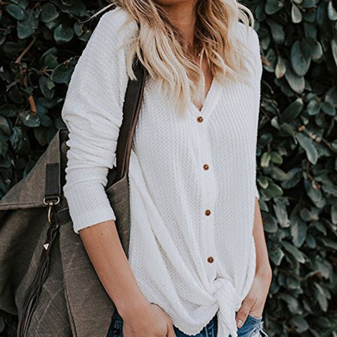 Womens Loose Fitting Henley Shirts Button Down Long Sleeve High Low Front Tie Tops V-Neck Shirts - Cozzoo