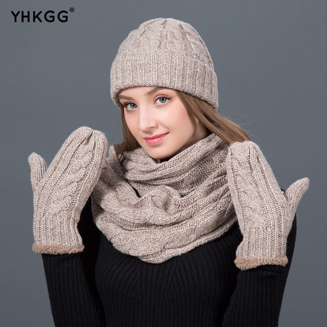 a6c9030fc33 YHKGG Set Winter Hats Scarf Gloves For Women Thick Cotton Winter warm knit  Accessories Set Female Beanie Scarf Gloves - Cozzoo