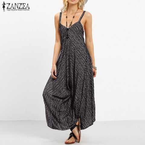 17c3b97aa14 ZANZEA Brand Rompers Womens Jumpsuit Summer Fashion Striped Long Playsuits  Casual Loose Sexy Backless Plus Size