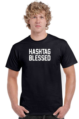 Men's T Shirt Hashtag Blessed Short Sleeve Tee - Cozzoo