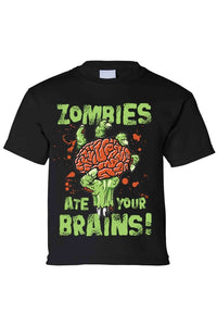 283012c0d59bd Kids T Shirt Zombies Ate Your Brain! Short Sleeve - Cozzoo