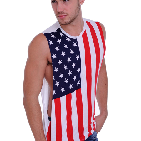 Men's USA Proud American United States Flag Open Side Tank T-Shirt - Cozzoo