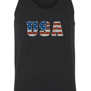 Men's/Unisex USA Flag Proud To Be An American Tank Top Shirt - Cozzoo