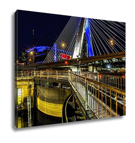 Gallery Wrapped Canvas, Zakem Bridge Over Charles River Dam At Night - Cozzoo