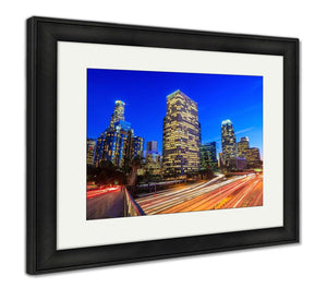 Framed Print, Downtown Los Angeles Skyline During Rush Hour - Cozzoo