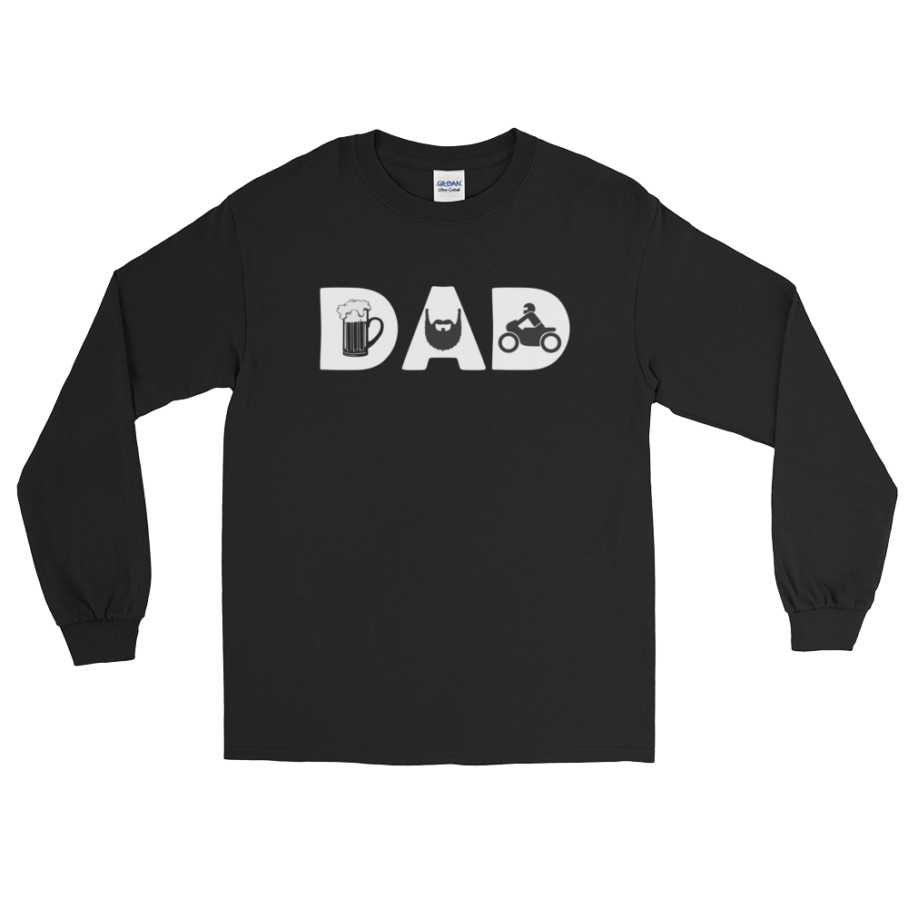 DAD - Beer - Beard - Bike - Long Sleeve T-Shirt - Cozzoo