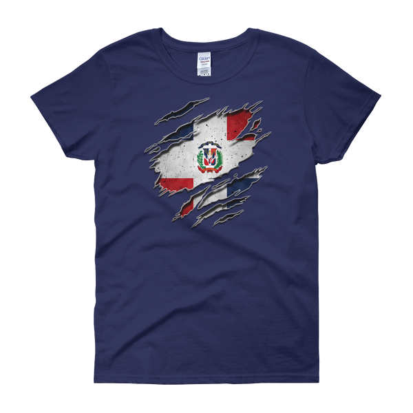 Dominican Flag Ripped Chest - Women's short sleeve t-shirt - Cozzoo