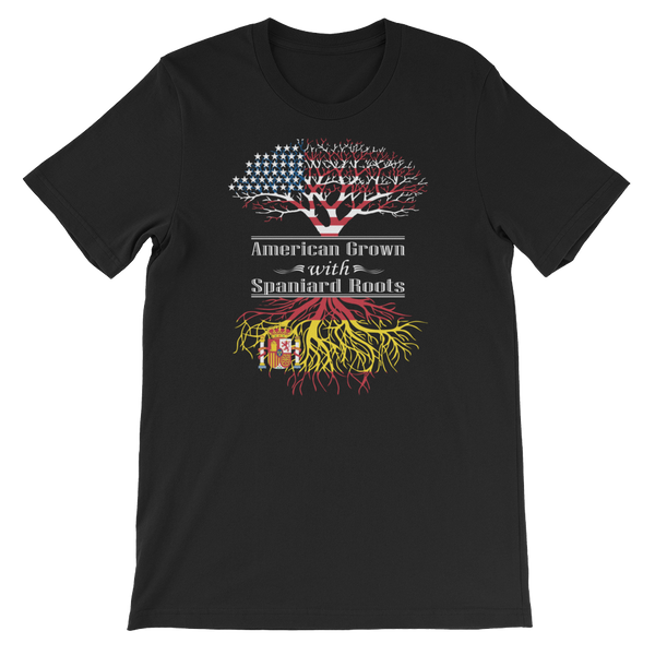 American Grown With Spaniard Roots - Short-Sleeve Unisex T-Shirt - Cozzoo