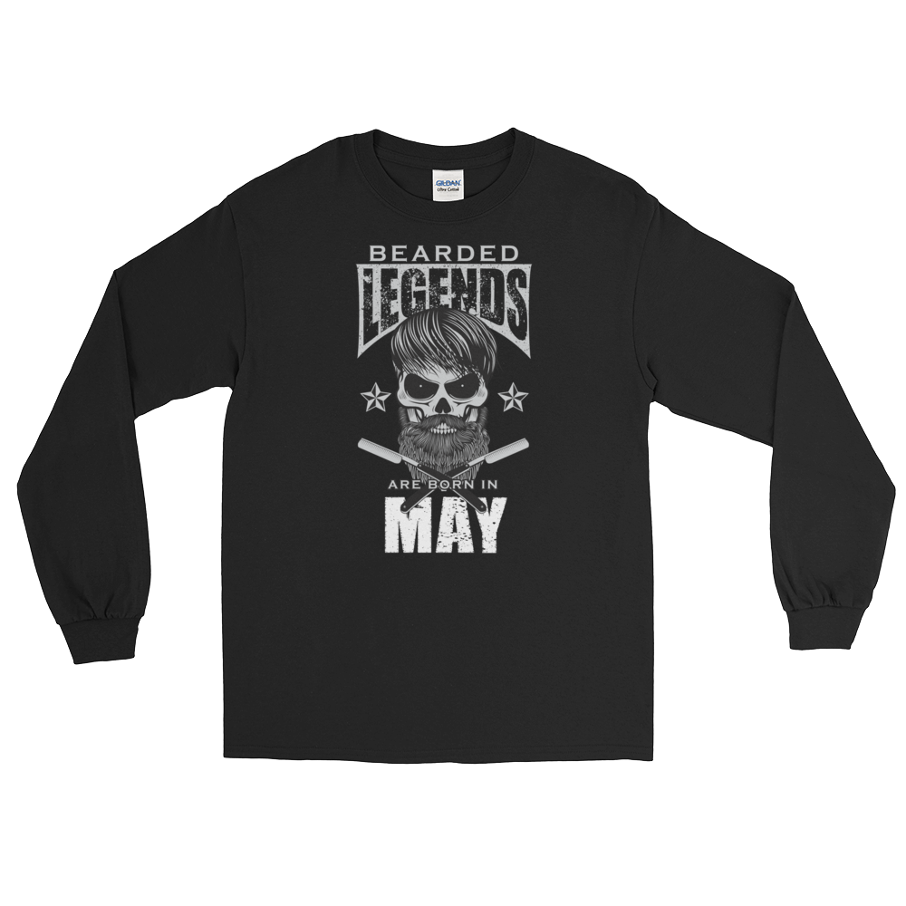 Bearded Legends Are Born In May - Long Sleeve T-Shirt - Cozzoo