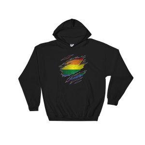 Gay Flag Ripped Chest - Hoodie Sweatshirt Sweater - Cozzoo