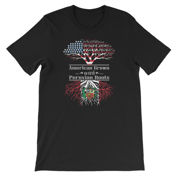 American Grown With Peruvian Roots - Short-Sleeve Unisex T-Shirt - Cozzoo