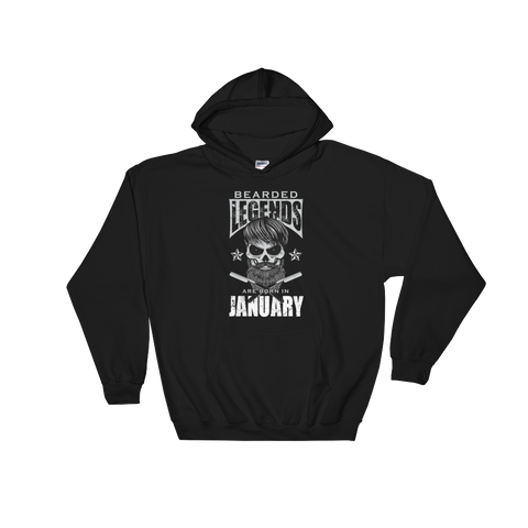 Bearded Legends Are Born In January - Hooded Sweatshirt - Cozzoo