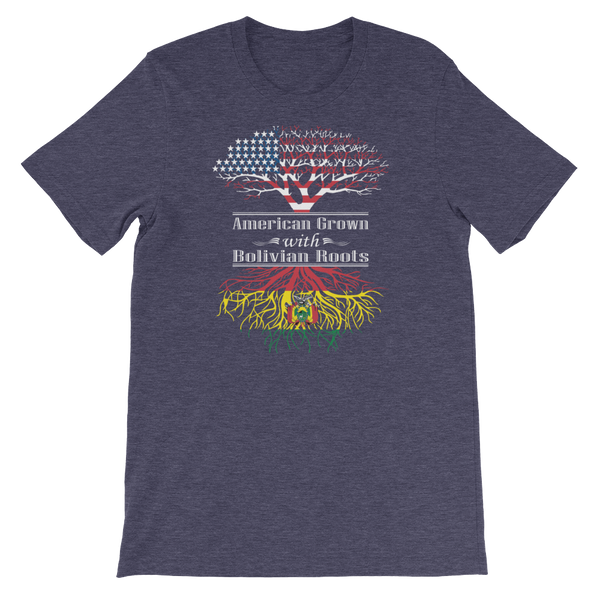 American Grown With Bolivian Roots - Short-Sleeve Unisex T-Shirt - Cozzoo