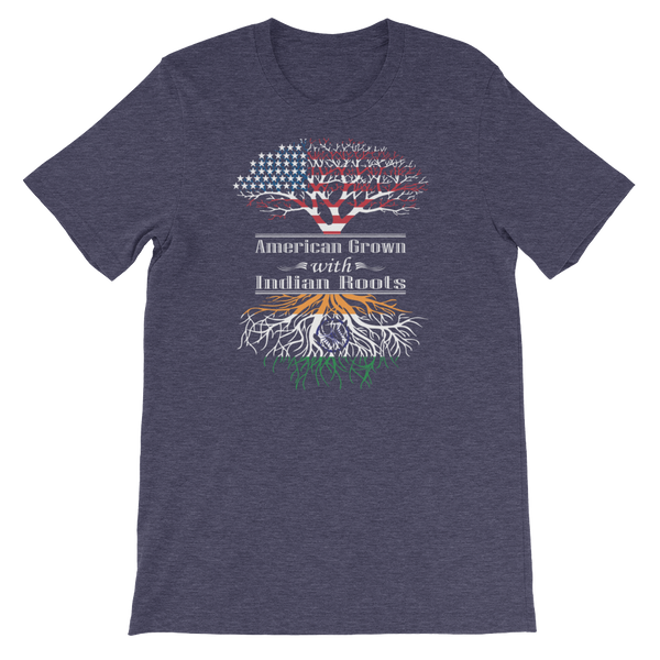 American Grown With Indian Roots - Short-Sleeve Unisex T-Shirt - Cozzoo