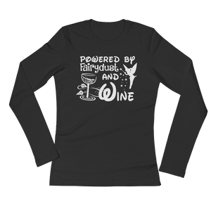 Powered By Fairydust And Wine - Ladies' Long Sleeve T-Shirt - Cozzoo