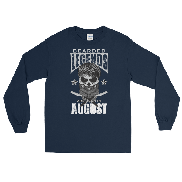 Bearded Legends Are Born In August - Long Sleeve T-Shirt - Cozzoo