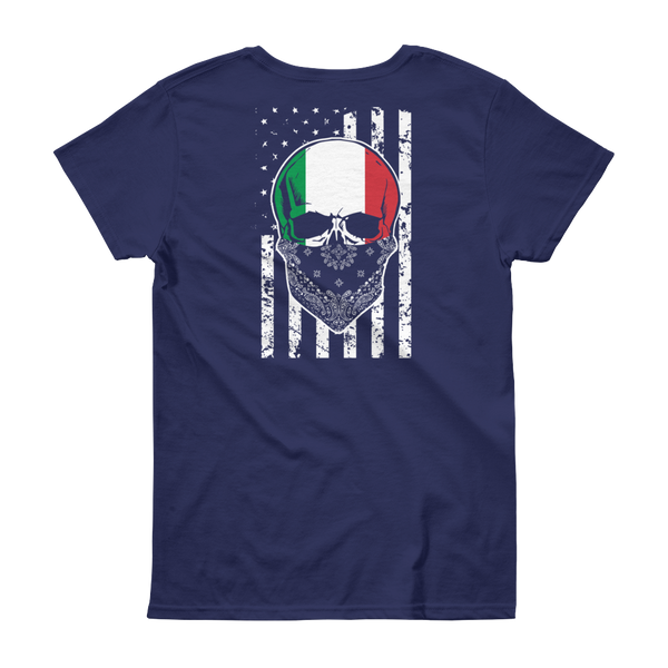 Cool Italian Skull + American Flag - Women's short sleeve t-shirt - Cozzoo