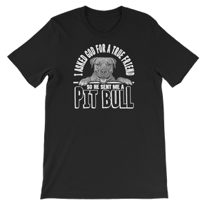 I Asked God For A True Friend So He Sent Me A Pit Bull - Short-Sleeve Unisex T-Shirt - Cozzoo