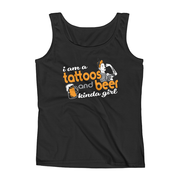 I Am A Tattoos And Beer Kinda Girl - Ladies' Tank - Cozzoo
