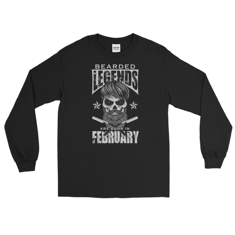 Bearded Legends Are Born In February - Long Sleeve T-Shirt - Cozzoo