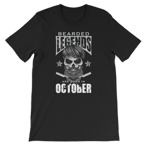 Bearded Legends Are Born In October - Short-Sleeve Unisex T-Shirt - Cozzoo