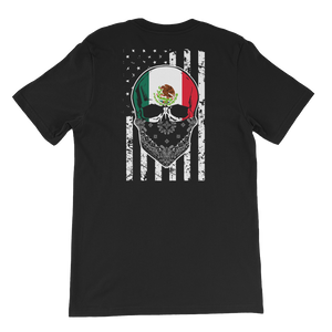 Cool Mexican Skull + American Flag - Short-Sleeve Unisex T-Shirt - Cozzoo