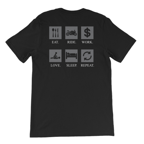 Eat Ride Work Love Sleep Repeat - Short-Sleeve Unisex T-Shirt - Cozzoo