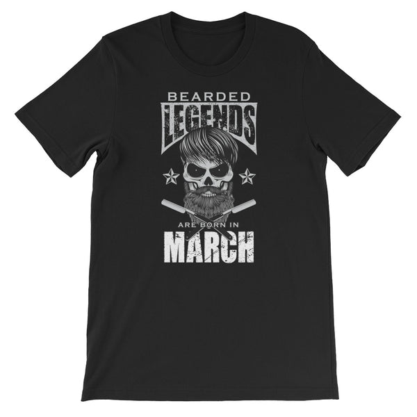 Bearded Legends Are Born In March - Short-Sleeve Unisex T-Shirt - Cozzoo