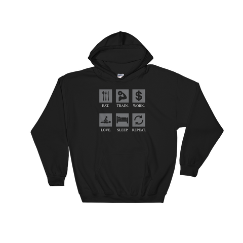 Eat Train Work Love Sleep Repeat - Hoodie Sweatshirt Sweater - Cozzoo