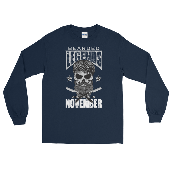 Bearded Legends Are Born In November - Long Sleeve T-Shirt - Cozzoo