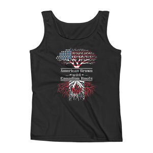American Grown With Canadian Roots - Ladies' Tank - Cozzoo