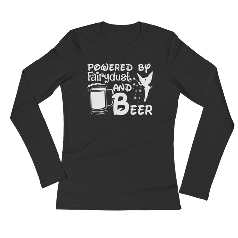 Powered By Fairydust And Beer - Ladies' Long Sleeve T-Shirt - Cozzoo