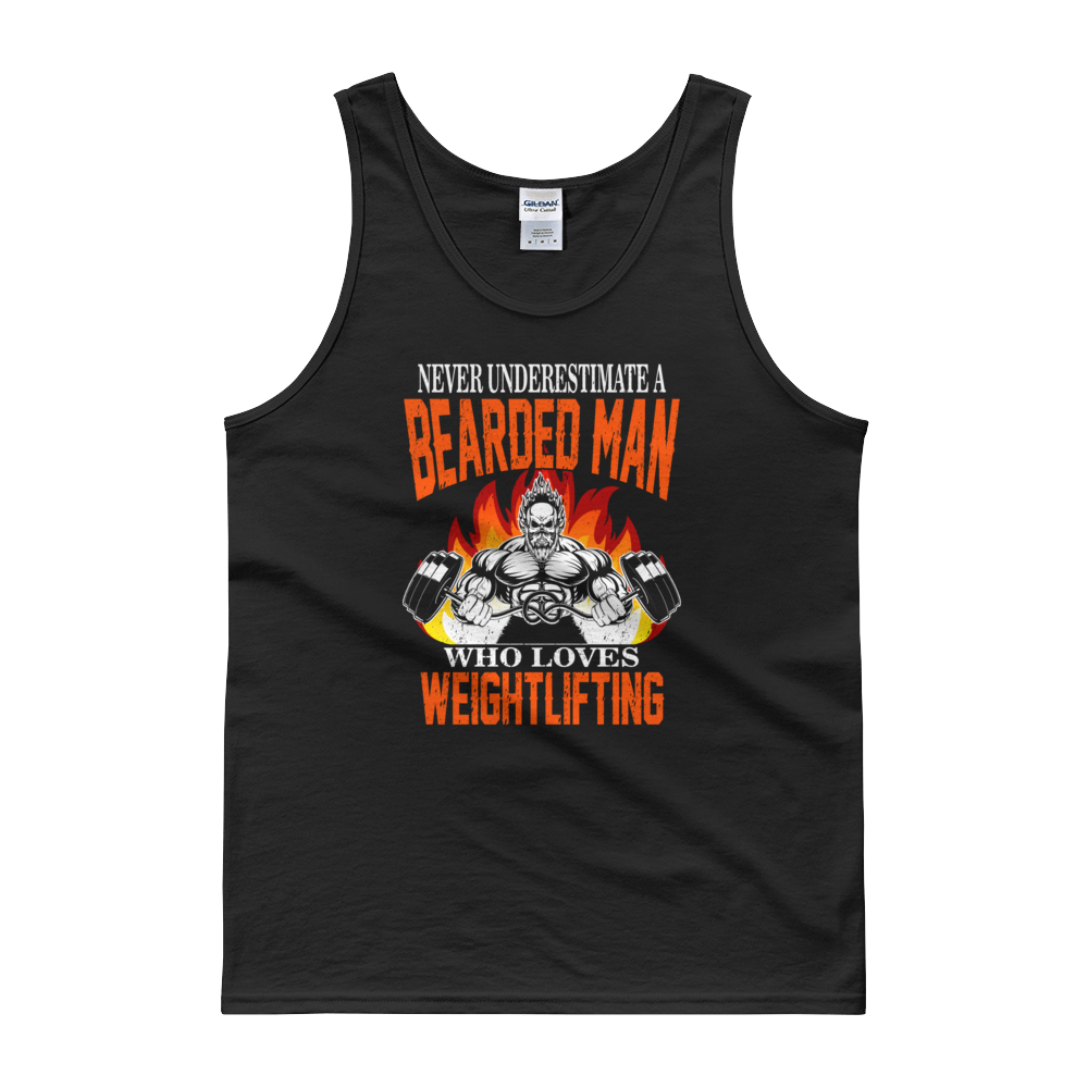 Never Underestimate A Bearded Man Who Loves Weightlifting - Tank top - Cozzoo