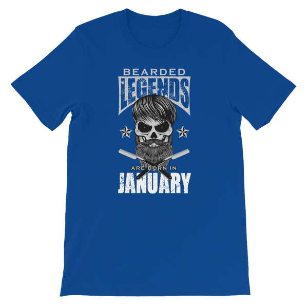 Bearded Legends Are Born In January - Short-Sleeve Unisex T-Shirt - Cozzoo
