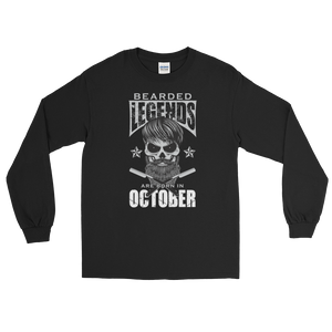Bearded Legends Are Born In October - Long Sleeve T-Shirt - Cozzoo