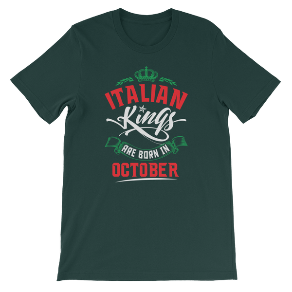 Italian Kings Are Born In October - Short-Sleeve Unisex T-Shirt - Cozzoo