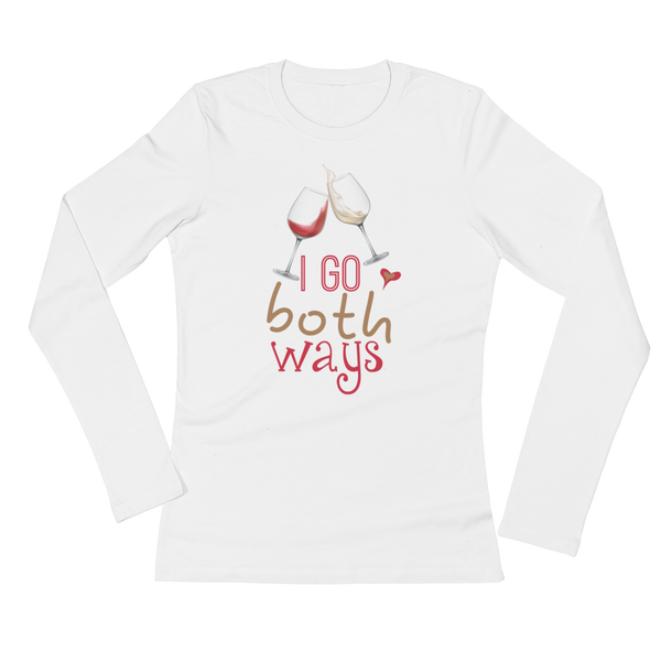 I Go Both Ways - Wine - Ladies' Long Sleeve T-Shirt - Cozzoo