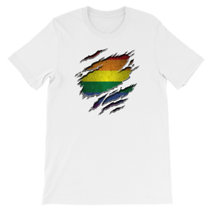 Gay Flag Ripped Chest - Short-Sleeve Unisex T-Shirt - Cozzoo