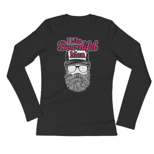 I Like Beardiful Men - Ladies' Long Sleeve T-Shirt - Cozzoo