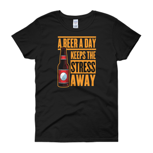 A Beer A Day Keeps The Stress Away - Women's short sleeve t-shirt - Cozzoo