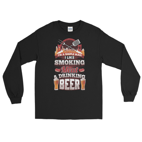 I'm A Simple Man I Like Smoking Meat And Drinking Beer - Long Sleeve T-Shirt - Cozzoo