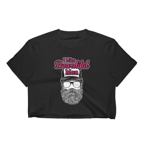 I Like Beardiful Men - Women's Crop Top - Cozzoo