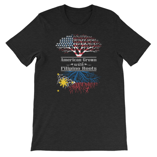 American Grown With Filipino Roots - Short-Sleeve Unisex T-Shirt - Cozzoo