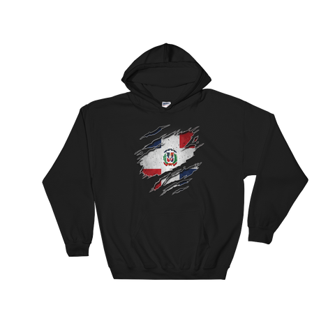 Dominican Flag Ripped Chest - Hoodie Sweatshirt Sweater - Cozzoo