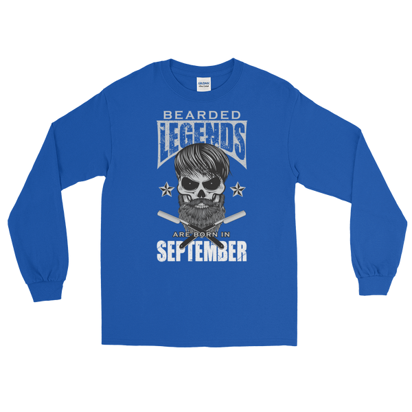 Bearded Legends Are Born In September - Long Sleeve T-Shirt - Cozzoo