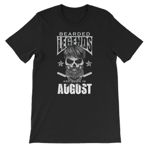 Bearded Legends Are Born In August - Short-Sleeve Unisex T-Shirt - Cozzoo