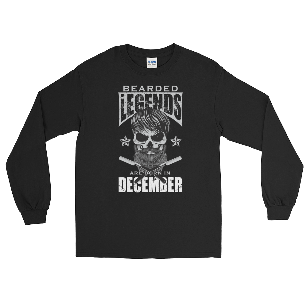 Bearded Legends Are Born In December - Long Sleeve T-Shirt - Cozzoo