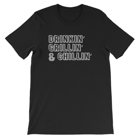 Drinkin' Grillin' And Chillin' - Short-Sleeve Unisex T-Shirt - Cozzoo