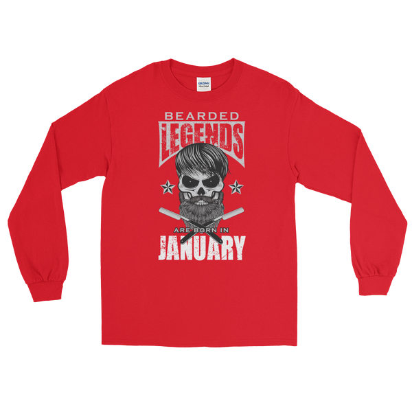 Bearded Legends Are Born In January - Long Sleeve T-Shirt - Cozzoo