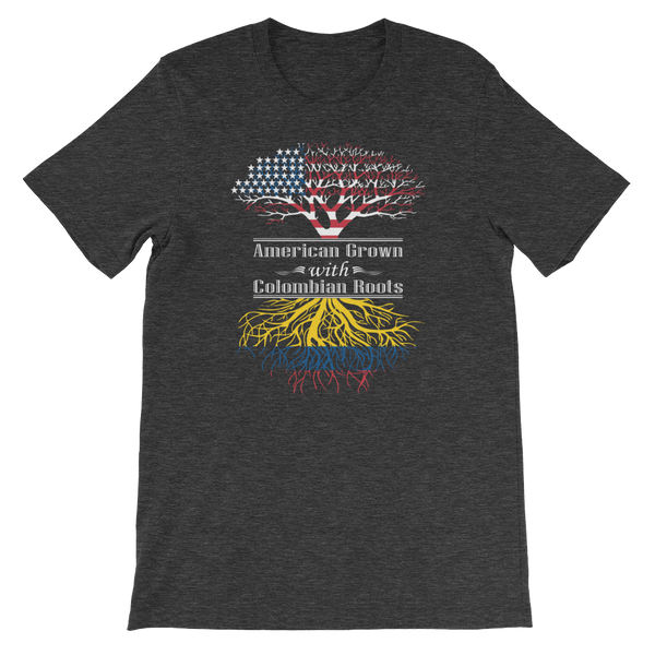 American Grown With Colombian Roots - Short-Sleeve Unisex T-Shirt - Cozzoo